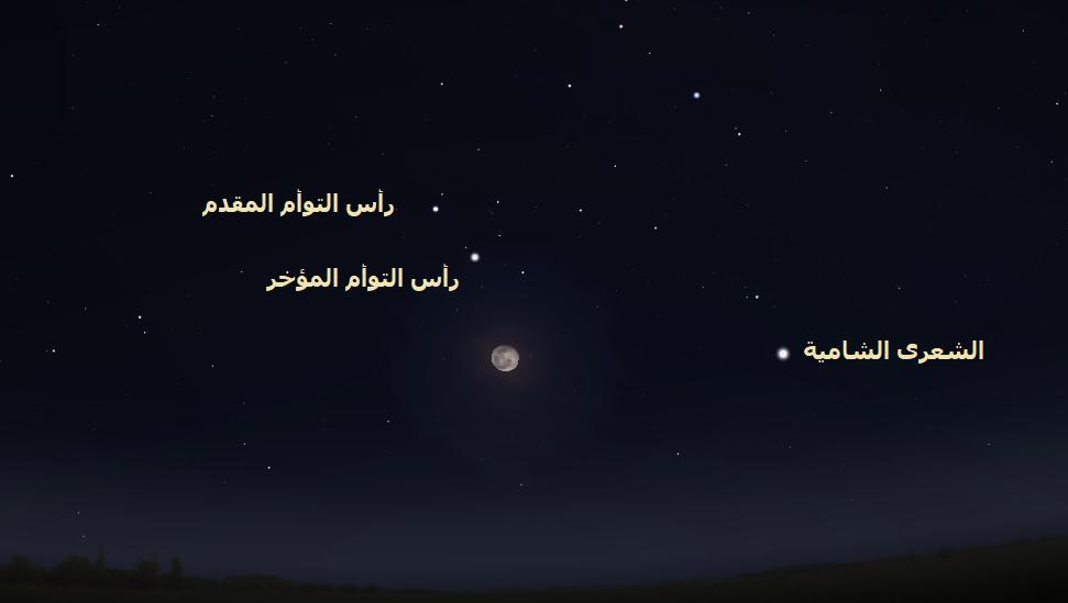 القمر إلى جوار نجمي التوأم