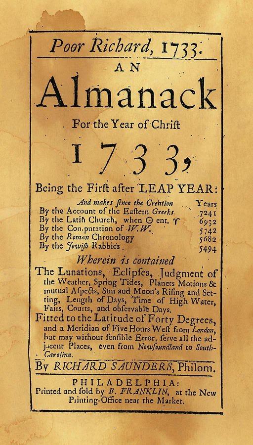 النسخة الأولى من Poor Richard's Almanack