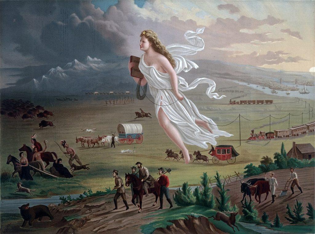 فتاة رومانية ضخمة أمامها السكان الأصليين في الولايات المتحدة