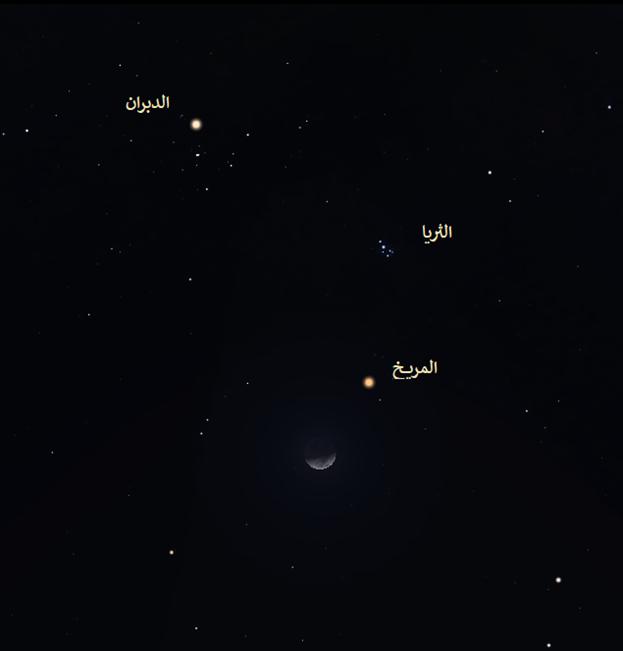 المريخ القمر الدبران  نجوم الشتاء رصد فلكي خريطة المساء السماء ليلا