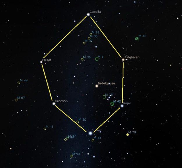 نجوم الشتاء رصد فلكي خريطة المساء السماء ليلا