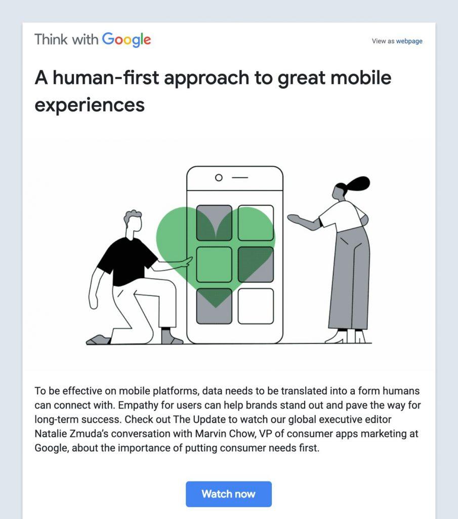 نشرة بريدية من جوجل بتصميم بسيط ومساحات فارغة