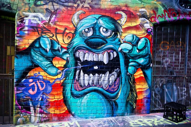 جرافيتي لسولي بطل «شركة المرعبين» في أحد شوارع مدينة أسترالية