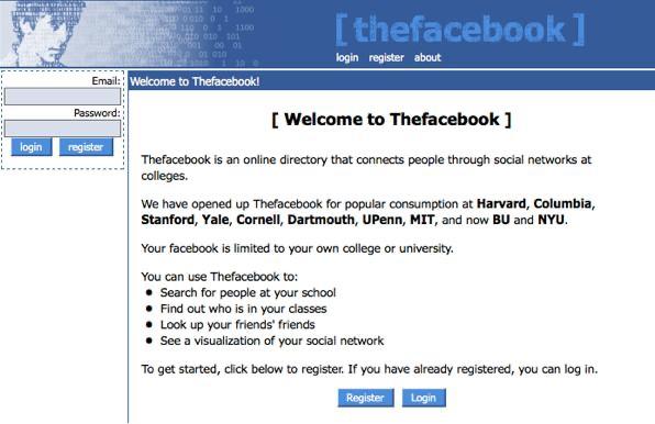 موقع الفيسبوك في شكله القديم